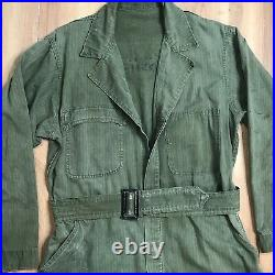 Vintage 40s WWII US Army Mechanic Coveralls Mens Small OD HBT Cotton Jump Suit