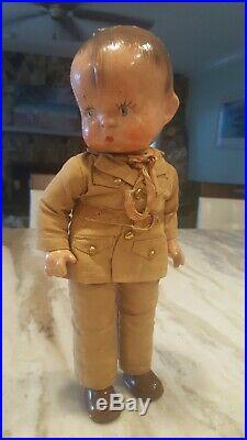 Vintage Effanbee SKIPPY Composition Doll c. 1943 WWII Army Uniform Original 14