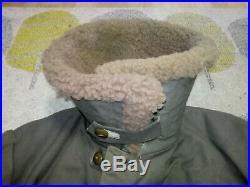 Vintage Mens Sheepskin WW2 M1909 Swedish Army Field Coat MATS LARSSON 1940s WWII