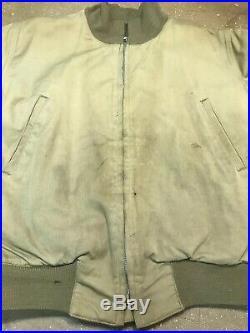 Vintage Original 1940's WWII US Army Tanker Jacket Back Stencil Large
