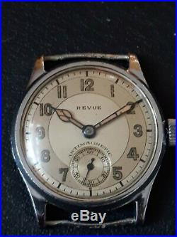Vintage WWII Military Revue Army Wrist Watch 1940 All Original Two Tone Dial
