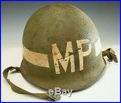 Vintage Wwii M1 Mp Helmet Ike Jacket Insignia Armband Us Army Whistle As Found