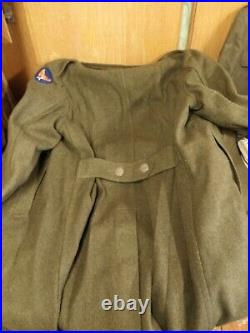 Vintage Wwii Ww2 Us Army Uniform Lot Officers Long Dress Jacket Trench Coat 42r