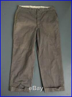 Vtg 1940s Lee Army Twill Khakis Housemark Era Wwii 38 X 28 Rare