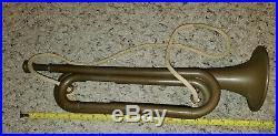 Vtg Rare Htf WWII Original Official Bugle Plastic U. S. Army AMAN Bugle Full Size