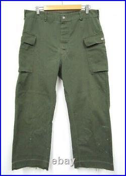 Vtg WW2 HBT Cargo Pants measure 36 x 29 Army USMC 13-star buttons 1940s 40s