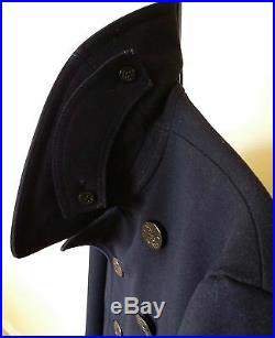 Vtg WWII US NAVY PEA COAT Naval Clothing Wool Cord Pockets Military Army Jacket