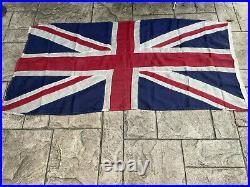 WW2 Original British Union Jack Stitched Linen Flag 180cm x 88cm VE Day Military