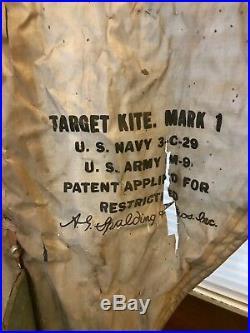 WW2 U. S. Army Navy Mark 1 Target Kite Original Authentic Original Frame