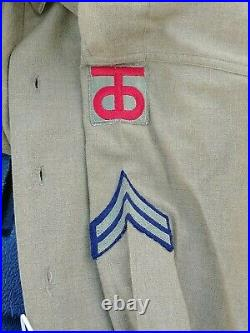 WW2 US Army 90th division Ike jacket Shirt pants Medals Named Soldier lot group