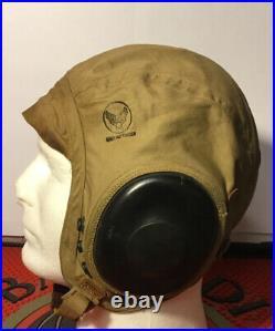 WW2 US Army Air Force AN-H-15 Canvas Flight Helmet Size Large USAAF Pilot