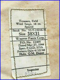 WW2 WWII 7th US Army Ike Jacket w /Khaki Shirt, Tie, Trousers, Ribbon Bar. 1944