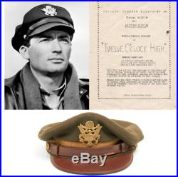 WWII Gregory Peck TWELVE O'CLOCK HIGH Movie Screen Worn Army Officer Cap & Paper