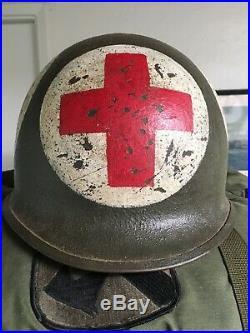 WWII US Army ORIGINAL combat medic helmet/ nicest 4 panel I've ever seen