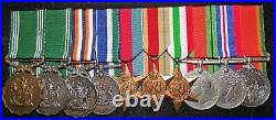 Ww 2 & Post War, South African Army Group Of 10 Court Mounted Medals + Research