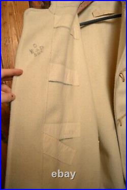 Wwii Royal Navy Duffle Coat Wool Rare British Army Antique Jacket Size L-42