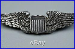 Wwii U. S. Army Air Corps Shirt Size Pilot Wing By Luxenberg Pin Back, Sterling